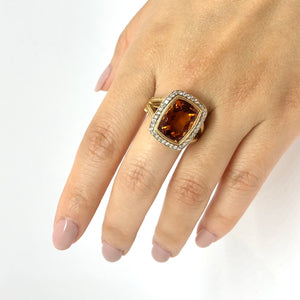 Yellow Gold Citrine and Spinel Statement Ring