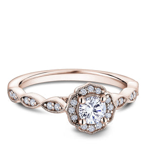 One Love Diamond Halo Engagement Ring In 14KR With Milgrain