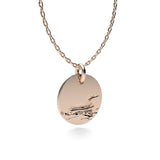 Rose Gold Plated Silver Loon Pendant with 18'' Chain