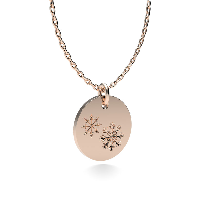 Rose Gold Plated Silver Snowflakes Pendant with 18'' Chain