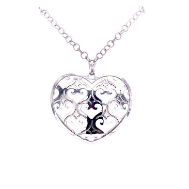 Large Silver Heart Necklace