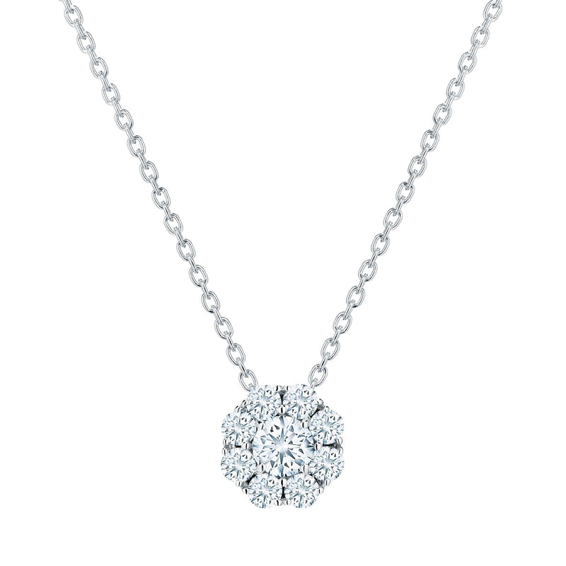 Birks Snowflake Cluster 18K White Diamond Necklace