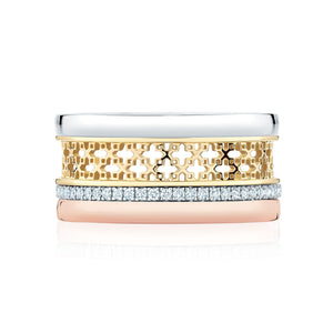 Birks Muse 18K Tri Gold and Diamond Stacking Ring