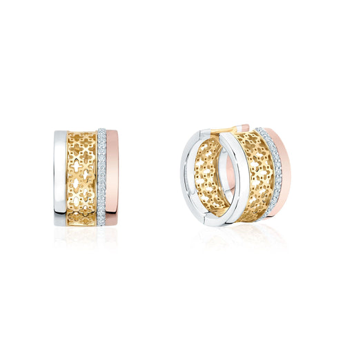 Birks Muse 18K Tri Gold and Diamond Huggie Earrings