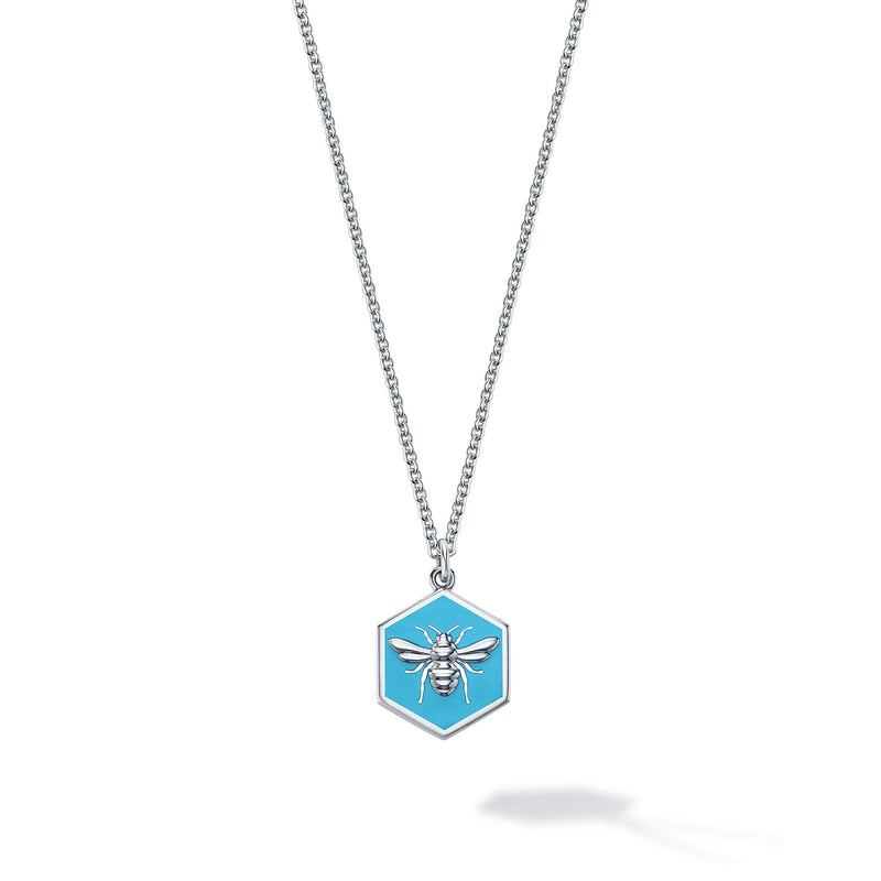 Birks Bee Chic Sterling Necklace with Blue Enamel Pendant