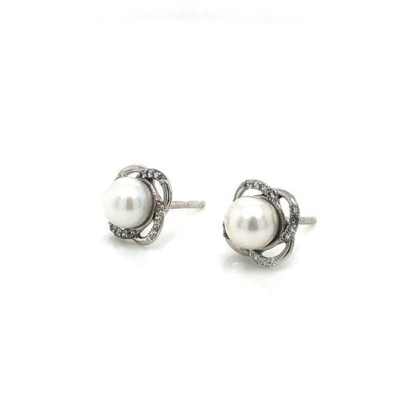 10KW Pearl & Diamond Stud Earrings