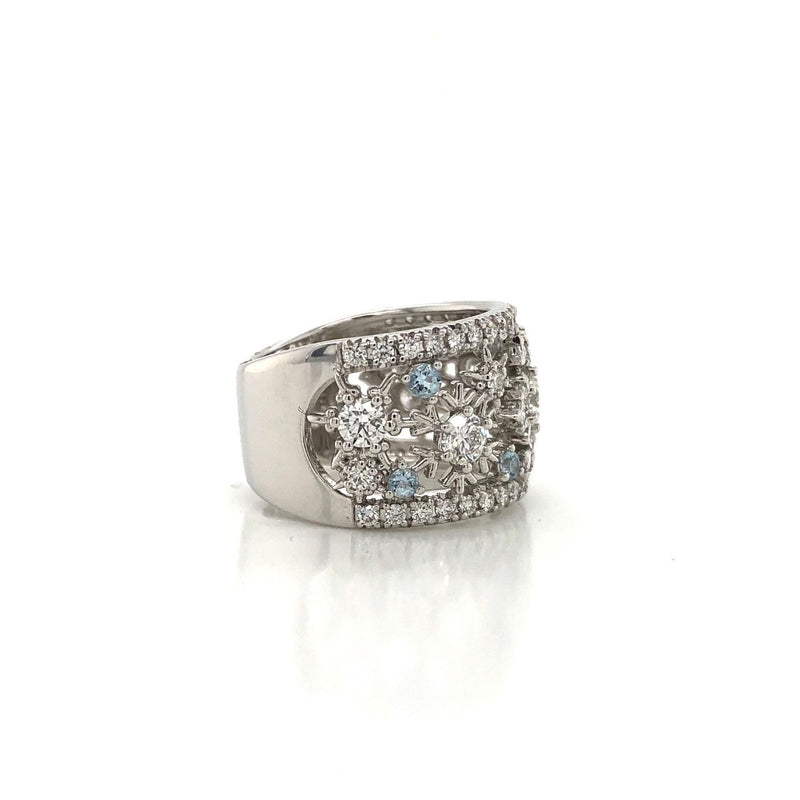 14KW Diamond & Aquamarine Dinner Ring