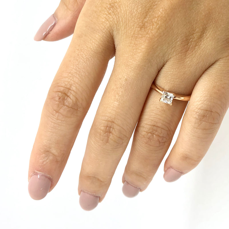 14K Rose Gold Princess Cut Diamond Engagment Ring