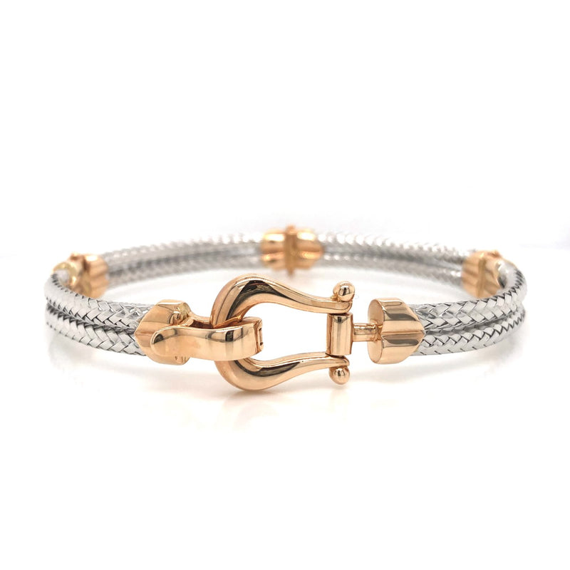 14K Fancy Horseshoe Buckle Bangle Bracelet