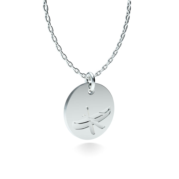 Rhodium Plated Silver Canoe Pendant with 18'' Chain
