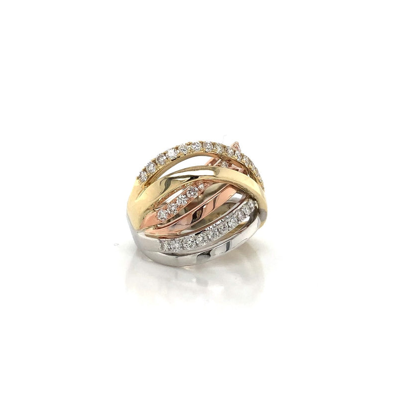 10K Tri-Gold Fashion Diamond Ring