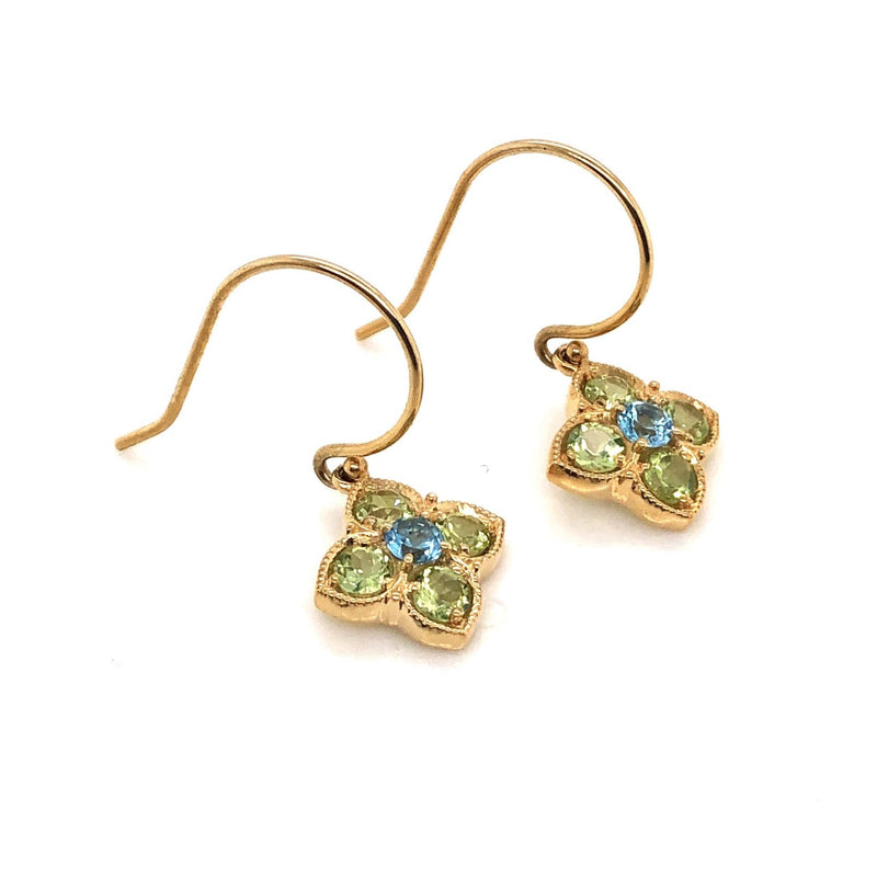 14KY Blue Topaz & Peridot Flower Earrings