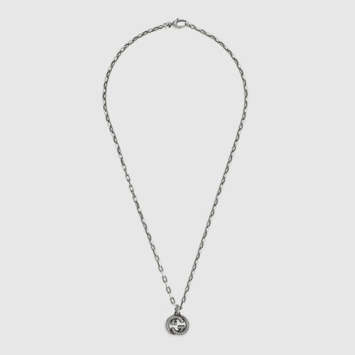 Gucci Interlocking G Necklace In Aged Silver
