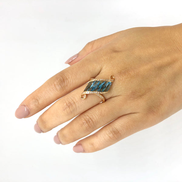 Bellarri Blue Topaz Scroll Ring