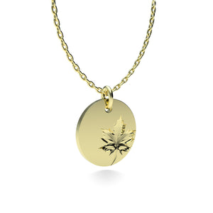 Yellow Gold Plated Silver Maple Leaf Pendant with 18'' Chain