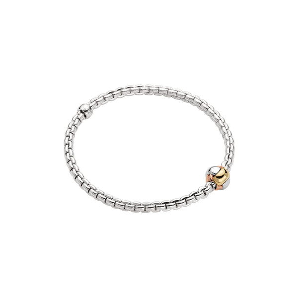 Fope Eka Bracelet In 18KW With Tri-Gold Rondel
