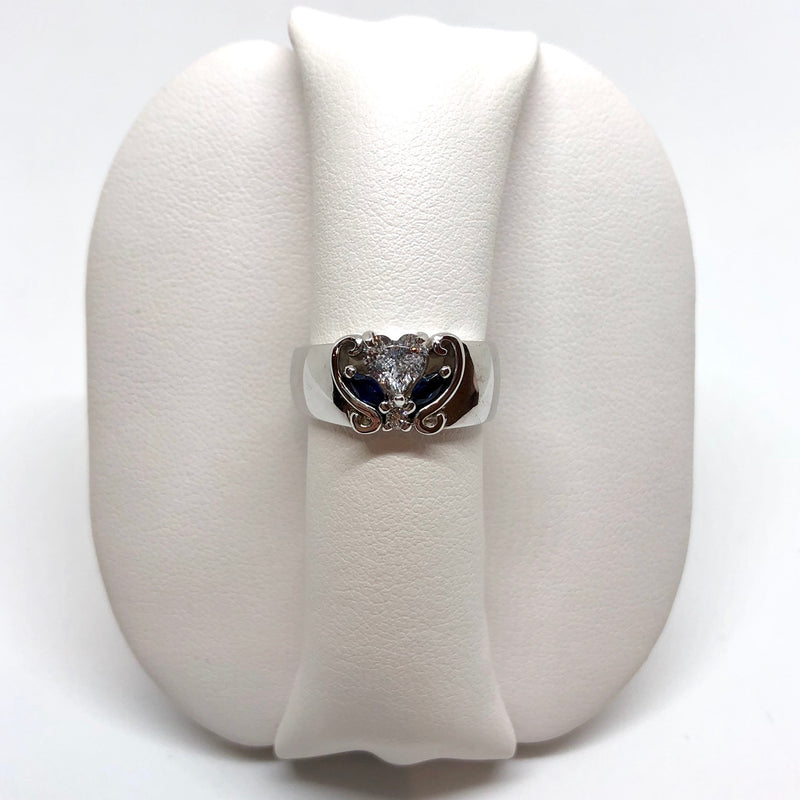 Unique Asymmetrical Heart Shaped White and Blue Sapphire Ring