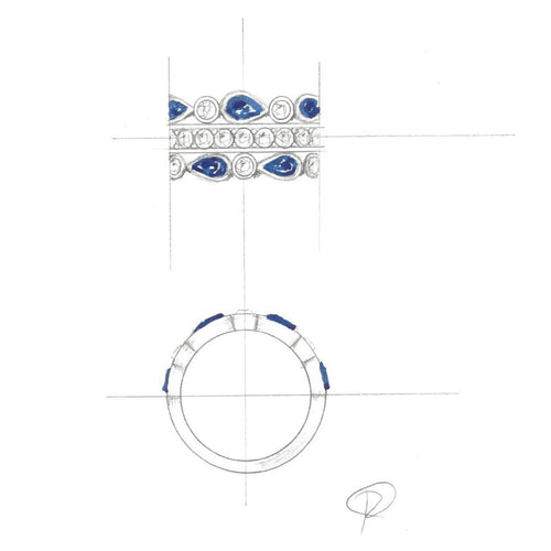 Custom Design Sapphire & Diamond Dinner Ring