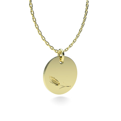 Yellow Gold Plated Silver Wheat Pendant with 18'' Chain