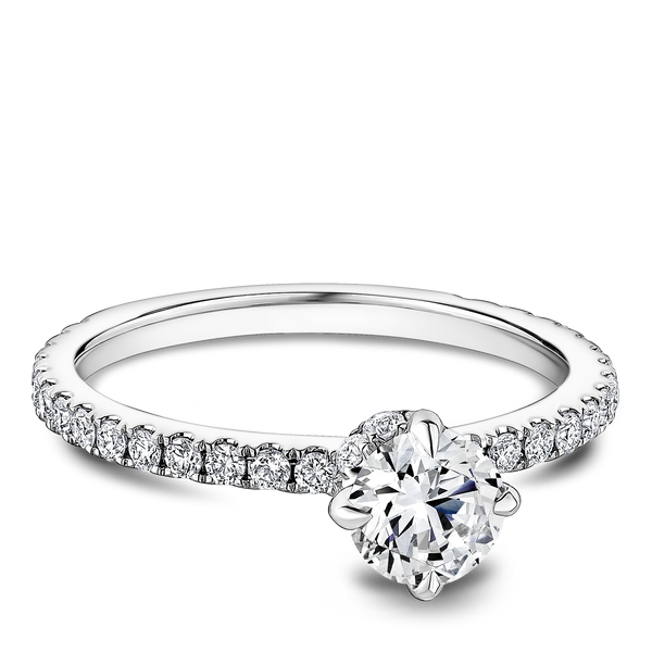 One Love Diamond Engagement Ring In 14KW With Diamond Scarf