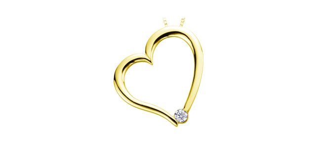 10K Yellow Gold Heart Necklace with Diamond