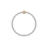 Fope Prima Bracelet In 18KW With Tri-Gold Rondel