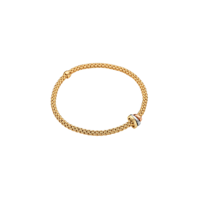 Fope Prima Bracelet In 18KY Gold With Tri-Gold Rondel