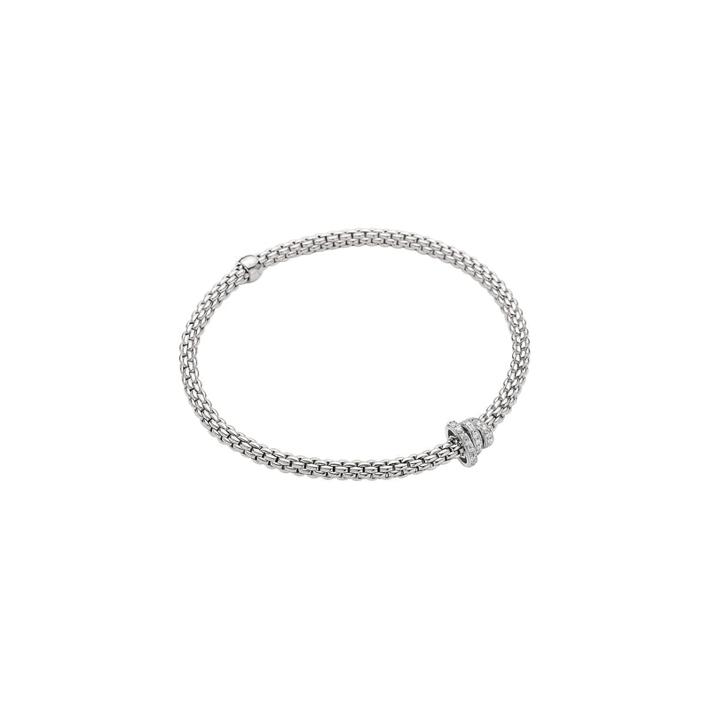 Fope Prima Bracelet In 18KW With Diamond Pave Rondel