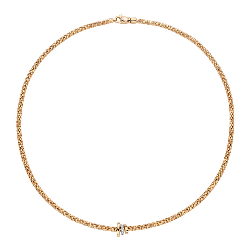 Fope Prima Necklace With Diamonds In 18K Yellow Gold