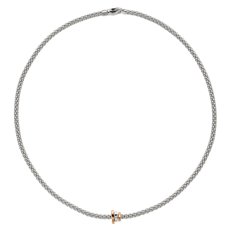 Fope Prima Necklace In 18KW With Tri-Gold Rondel