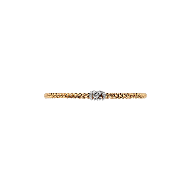 Fope Prima Bracelet In 18KY With Diamond Rondels