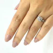 Load image into Gallery viewer, Square Halo Vintage Inspired Princess Cut Engagement Ring