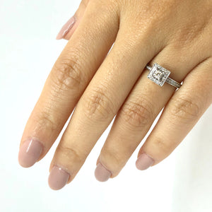 Square Halo Vintage Inspired Princess Cut Engagement Ring