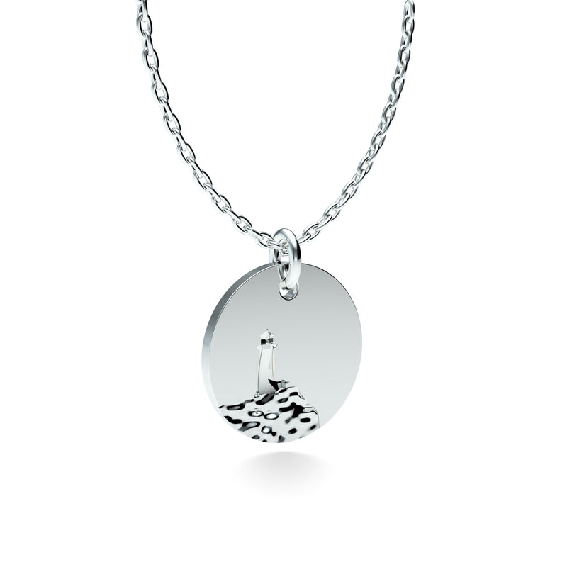 Rhodium Plated Silver Lighthouse Pendant with 18'' Chain