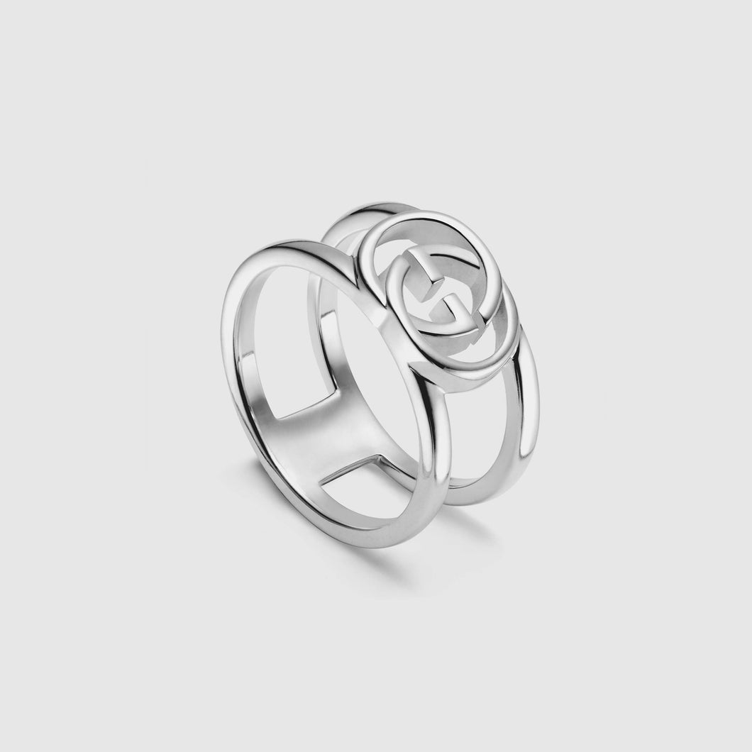 Gucci Silver 9mm Wide Interlocking G Ring