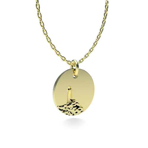 Yellow Gold Plated Silver Lighthouse Pendant with 18'' Chain *PRE-ORDER NOW*
