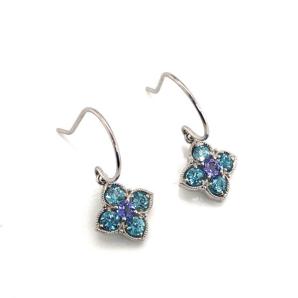 14K Floral Dangle Earrings With Sapphire & Zircon