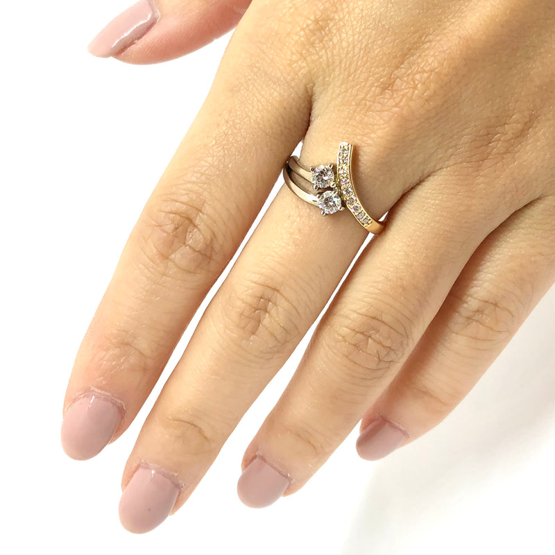 Two-Tone Asymmetrical Bypass Diamond Ring