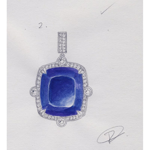 Custom Design 62ct Tanzanite Platinum Pendant