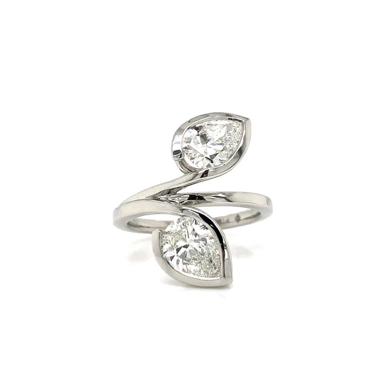 Forevermark Pear-Shaped Platinum Petal Ring 2.02ctw