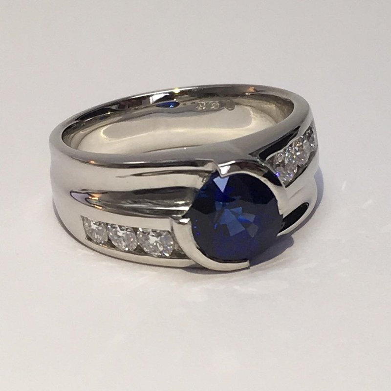 Custom Design 3ct Sapphire & Diamond Platinum Ring