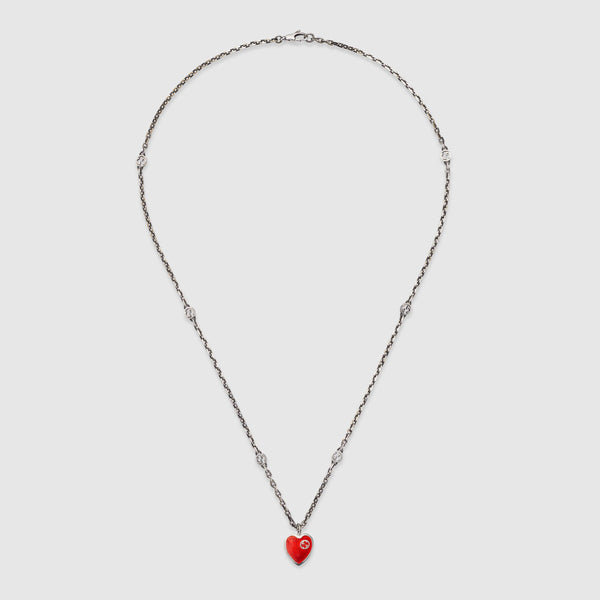 Gucci Silver Heart Necklace with Red Enamel
