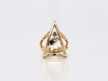 Load image into Gallery viewer, Geometric Yellow Gold and Multicoloured Diamond Ring