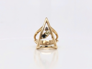 Geometric Yellow Gold and Multicoloured Diamond Ring