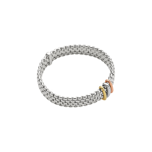 Fope Panorama Bracelet In 18KW With Tri-Gold Rondel