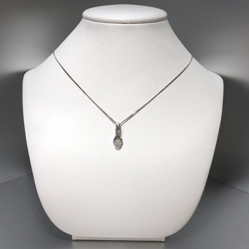 14KW Princes Cut Diamond Necklace 0.23ct (Chain Included)