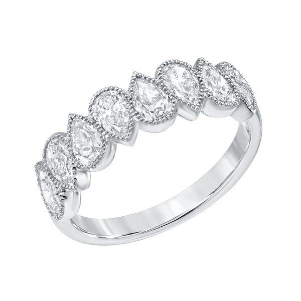 8 Pear Shaped Diamond Anniversary Ring In White Gold