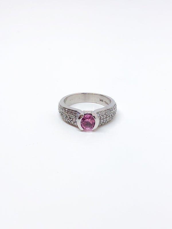 Estate Pink Lab Created Sapphire Ring