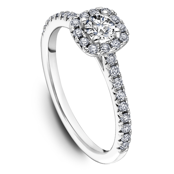 One Love Diamond Halo Engagement Ring In 14KW