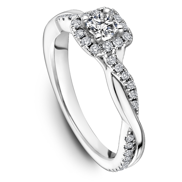 One Love Diamond Halo Twist Engagement Ring In 14K White Gold